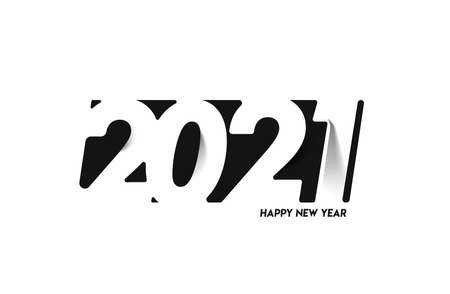 Happy New Year 2021 Text Typography Design Patter, Vector illustration.