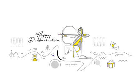Lord Rama with arrow killing Ravana in Navratri festival of India poster with hindi text Dussehra, Line art Vector illustration.