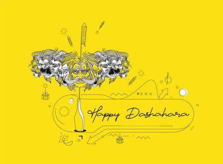Rama killing Ravana with ten heads bow and arrow with text Happy Dussehra (Hindu holiday Vijayadashami) festival of India.