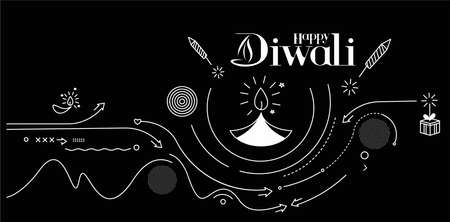 Happy Diwali text with Rocket firecrackers design. Poster Banner Vector illustration.