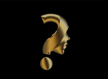 Gold Question mark with human face Icon Vector Design Element.
