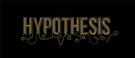 Hypothesis Calligraphic gold line art Text poster vector illustration Design. Vektoros illusztráció