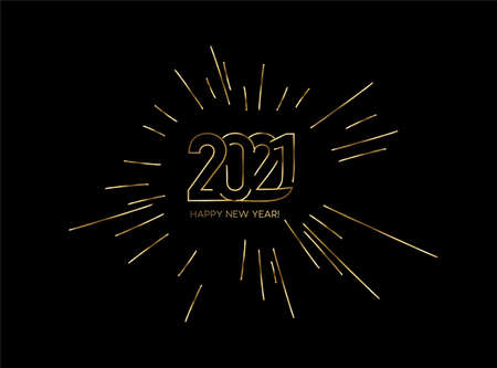 Happy New Year 2021 Gold Text Typography Design poster, Vector illustration. Çizim