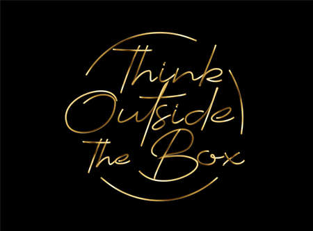 Think Outside The Box Gold Calligraphic Style Text Vector illustration Design