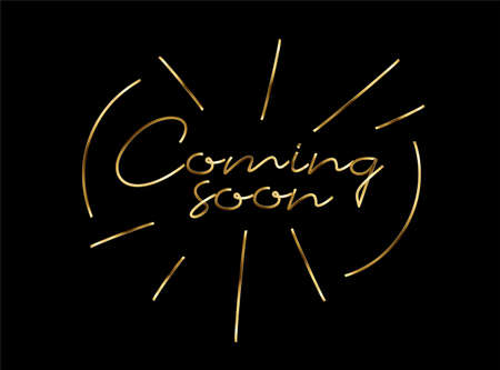 Coming soon Gold Calligraphic Line art Style Text Vector illustration Design Çizim