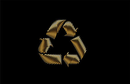 Gold Recycle web icon vector design element.