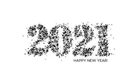 Happy New Year 2021 Particle Text Typography Design Banner Poster, Vector illustration.