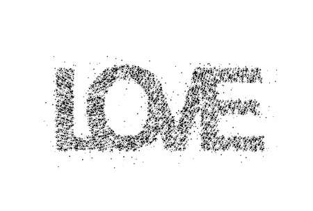 Love Particle Word lettering. text. Vector Design.