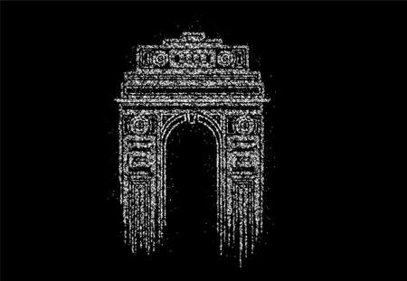 Particle Design India Gate at New Delhi. 1920s triumphal arch and war memorial. Line art vector illustration.