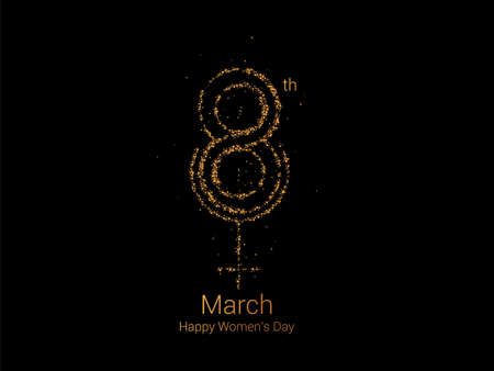 8 march Happy Women's Day Stylish Typography Text. Vector Illustration