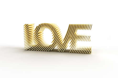 3D Render Gold Love text Illustration Deign.
