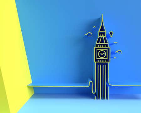 3D A Clock Tower, Big Ben London - 3D Render Design Flyer/Poster illustration Banco de Imagens