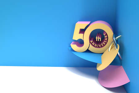 50th Years Anniversary Celebration Space of Your Text 3D Render Illustration Design. Фото со стока