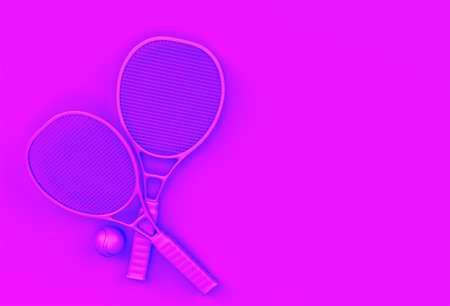 3D Render Sport equipment tennis racket with a ball on Pink Background Reklamní fotografie