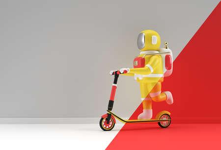 3D Render Astronaut Riding a Push Scooter