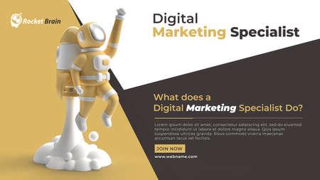 Astronaut Fly Rocket Digital Marketing Horizontal Banner Template