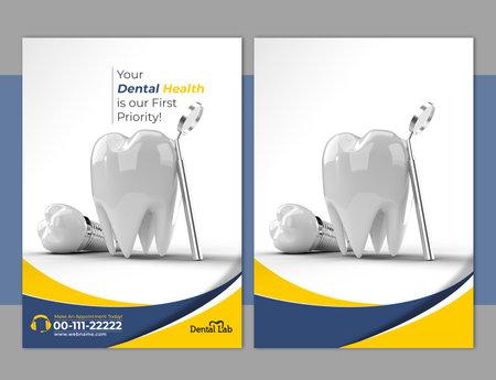 Dental Implants Surgery Concept Flyer Poster Banner Template.