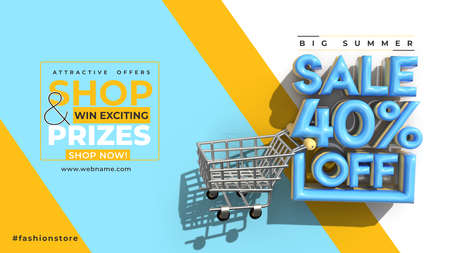 Super Sale 40% Off Digital Marketing Horizontal Banner Template.