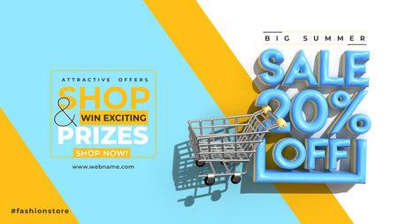 Super Sale 20% Off Digital Marketing Horizontal Banner Template.