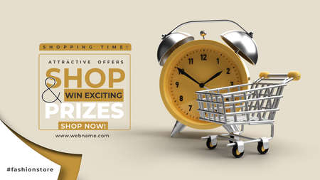 Alarm Clock with Shopping trolly Sale Offcer Digital Marketing Horizontal Banner Template.