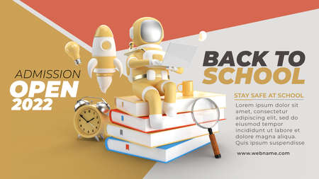 Back To School with Astronaut Working on Laptop Digital Marketing Horizontal Banner Template. Foto de archivo