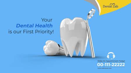 Dental Implants Surgery Concept Horizontal Banner Template.