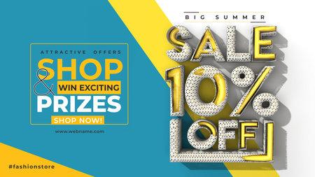 Super Sale 10% Off Digital Marketing Horizontal Banner Template.
