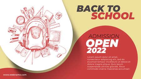 Back To School Digital Marketing Horizontal Banner Template. Foto de archivo