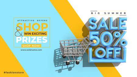Super Sale 60% Off Digital Marketing Horizontal Banner Template.