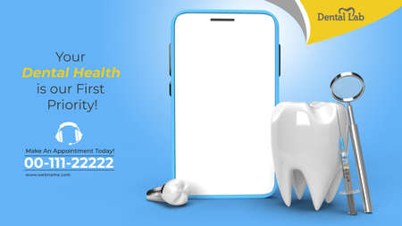 Mobile Mockup with Dental Implants Surgery Concept Horizontal Banner Template.