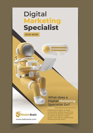 Astronaut Digital Marketing Banner Template.
