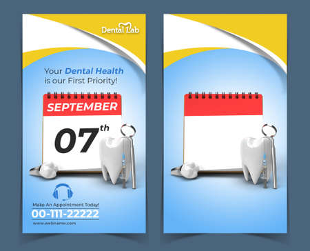 Doctor Appointment for Dental Implants Surgery Concept Banner Template.