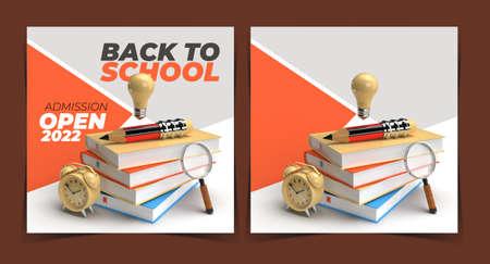 Back To School Digital Marketing Post Banner Template.