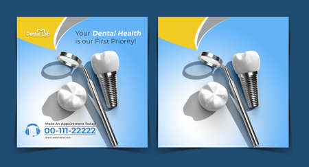 Dental Implants Surgery Concept Post Banner Template.