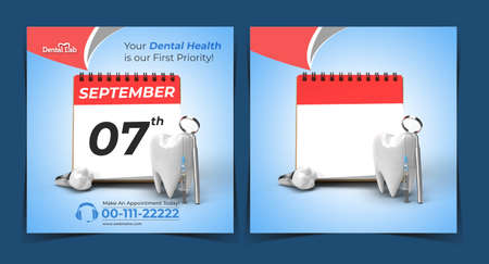 Doctor Appointment with Dental Implants Surgery Concept Banner Template.