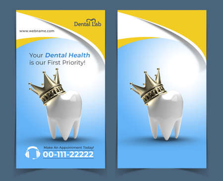 Tooth with Golden Crown Dental Implants Surgery Concept Banner Template.