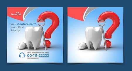 Teeth with question Mark Dental Implants Surgery Concept Banner Template. Foto de archivo