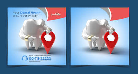 Teeth with Navigation Dental Implants Surgery Concept Banner Template.