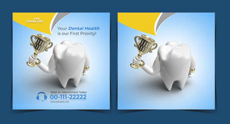 Teeth with Trophy Dental Implants Concept Banner Template.