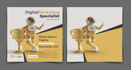 Astronaut Got the First Prize Trophy Digital Concept Banner Template.