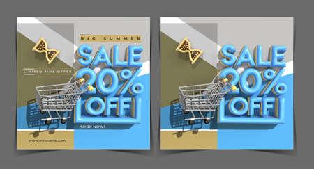 Big Summer Sale 20% Off Digital Marketing Banner Template. Foto de archivo