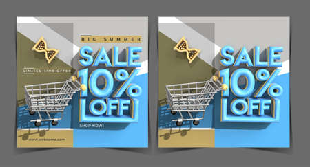 Big Summer Sale 10% Off Digital Marketing Banner Template.