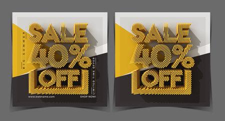 Big Summer Sale 40% Off Digital Marketing Banner Template.