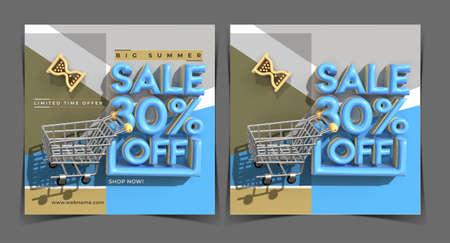 Big Summer Sale 30% Off Digital Marketing Banner Template. Foto de archivo