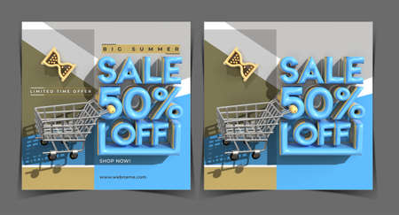 Big Summer Sale 50% Off Digital Marketing Banner Template.