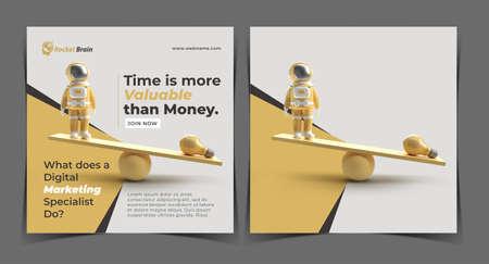 Time is More Valuable Digital Concept Banner Template. Foto de archivo