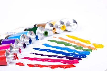 paint tube: acrylic colorful tube of paint