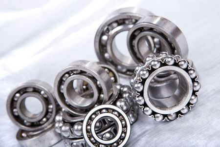 bearings: ball bearing on silver background Stock Photo
