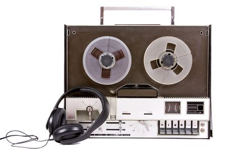 tape recorder: vintage old music object on white background Stock Photo