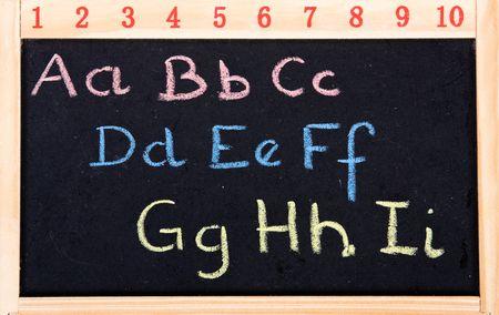 greek alphabet: blackboard with Greek alphabet and ciphers
